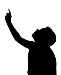 Isolated Boy Child Gesture Pointing Upwards