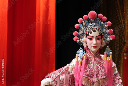 Aluminium Hong-Kong chinese opera dummy and red cloth as text space ,it is a toy,not