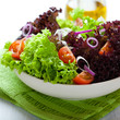 Summer salad with green and red lettuce leaves