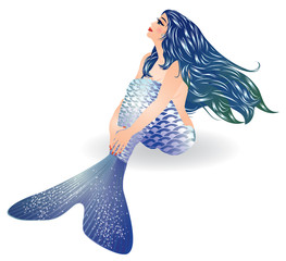 Isolated Blue Mermaid sitting, vector illustration