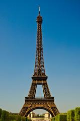 Eiffel Tower in portrait orientation with blue sky