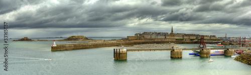 Leinwanddruck Bild HDR des digues de Saint-Malo