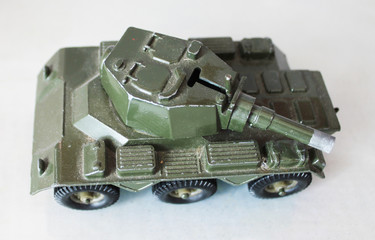Green model military armed personnel vehicle
