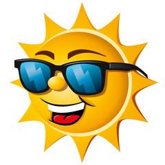 Lachende Sonne mit Sonnenbrille