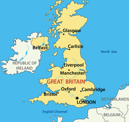 vector illustration - map of the United Kingdom of Great Britain