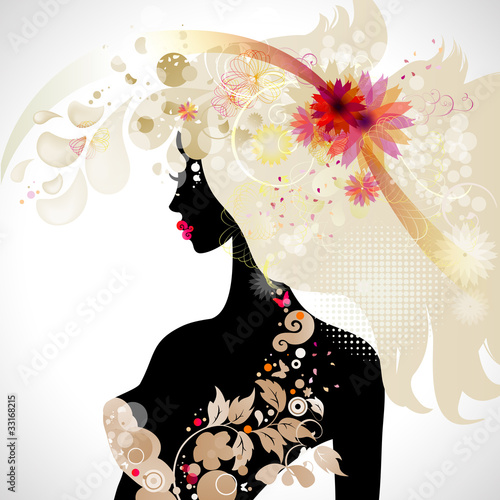 Poster Bloemen vrouw abstract decorative composition with girl