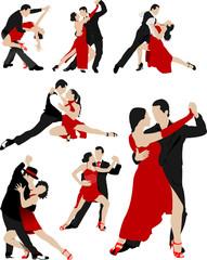 Big set of Couples dancing a tango. Vector illustration