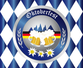 Bavarian Oktoberfest with beer mugs and German flag