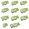 Complete set of percent green stickers