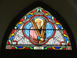 painted glasses of saint in the Church