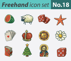 Freehand icon set - various