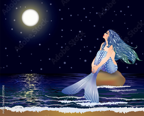 Night mermaid, vector illustration