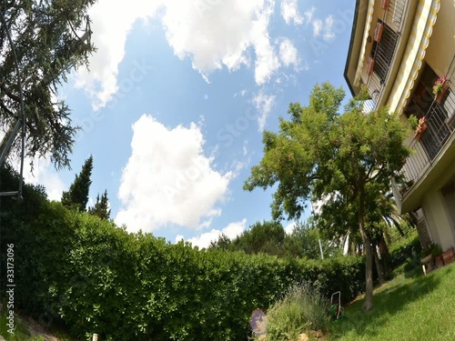 Time Lapse Clouds view from a Tuscan Garden, Italy