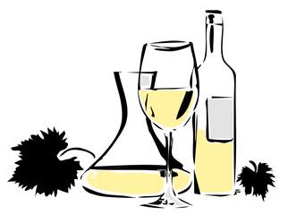 Weißwein und Weinblätter