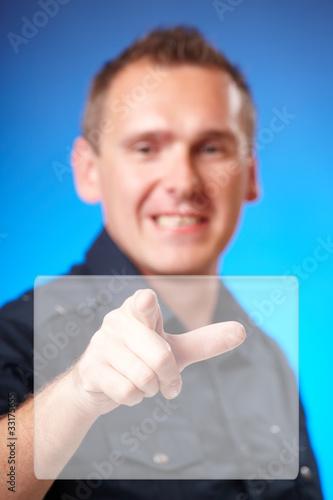Man touching blank screen