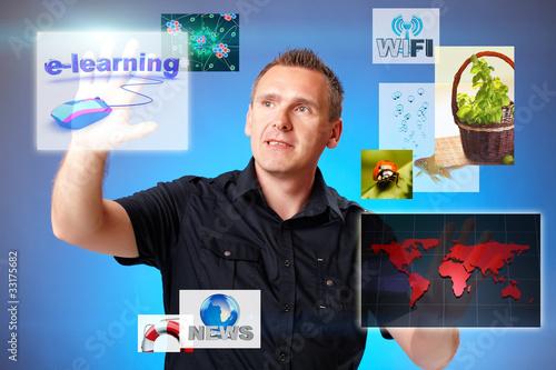 Man pressing screen