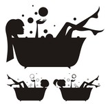 Fototapety Vector silhouettes: girls in the bath