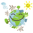 Happy globe, renewable energy