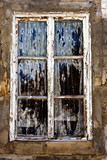 old decaying window poster