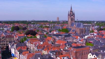 View from Nieuwe on Oude kerk, Delft, Netherlands