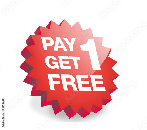 Pay 1, get 1 for free , 3d Button