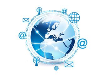 planète terre globe réseau internet
