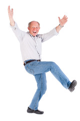 Cheerful old man having a great time