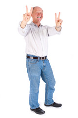 Portrait of old man showing victory sign