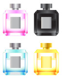 Set of colored perfume bottles