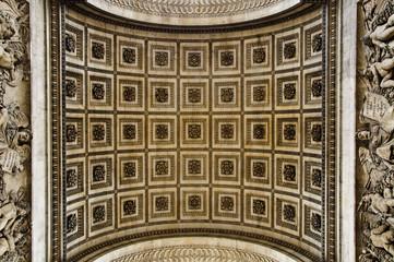 Close up details underneath the Arc de Triomphe in Paris