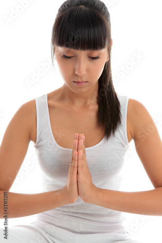 Woman quiet meditation peace prayer
