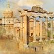 great antique Rome - Forum , artwork in retro style