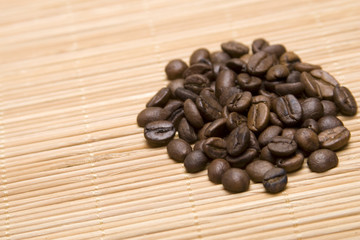 Close up of coffee beans in the heap