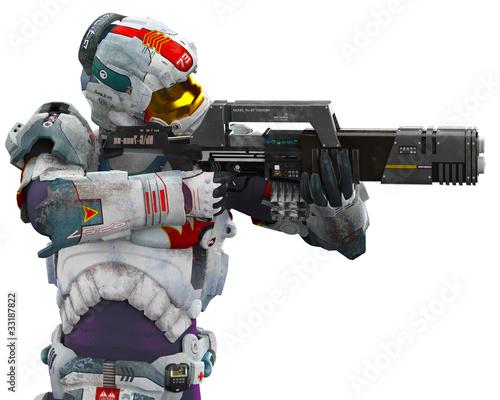 Leinwandbild Motiv astronalt hero got a gun pointed
