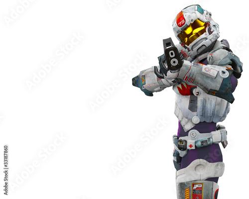 Leinwanddruck Bild astronalt hero got a gun