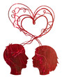 Abstract red silhouette of couple heads, love concept