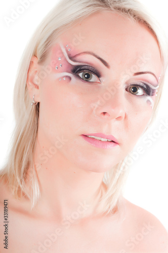 Woman with face art