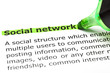 'Social network' highlighted in green