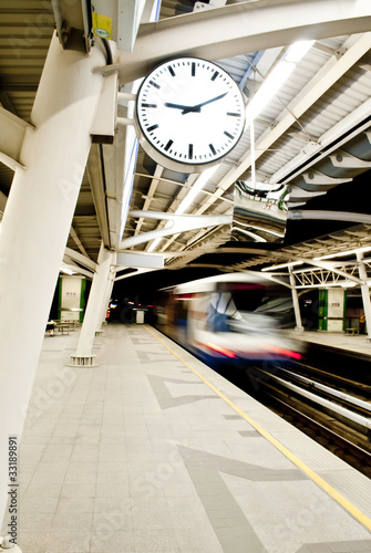 Sky train station with vintage clock|33189891
