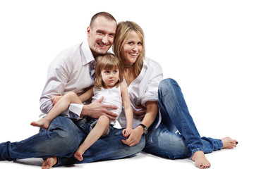 family of three persons (father, mother and little daughter)