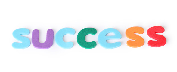 success, colorful letters for child, english word isolated