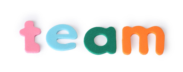 team, colorful letters for child, english word isolated