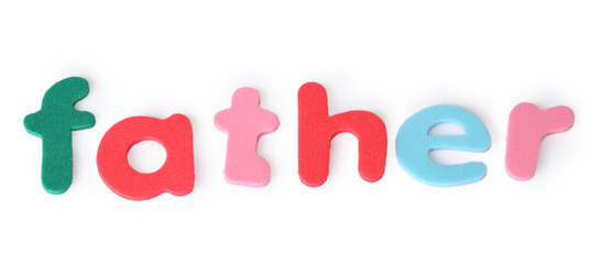 father, colorful letters for child, english word isolated