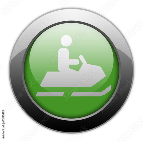 "Green Metallic Orb Button ""Snowmobiles"""