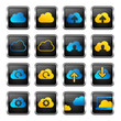 cloud computing icon set (blue & yellow)