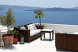 Terrace overlooking sea, Oia Village, Santorini, Cyclades, Greec
