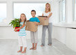 Family moving in a new home