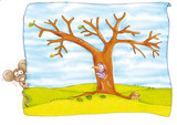 mouse,hollow shaft, mice, woodpeckers, tree sky poster