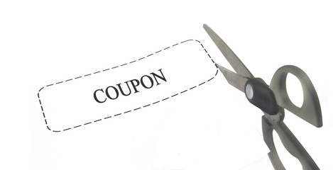 scissors cutting a coupon
