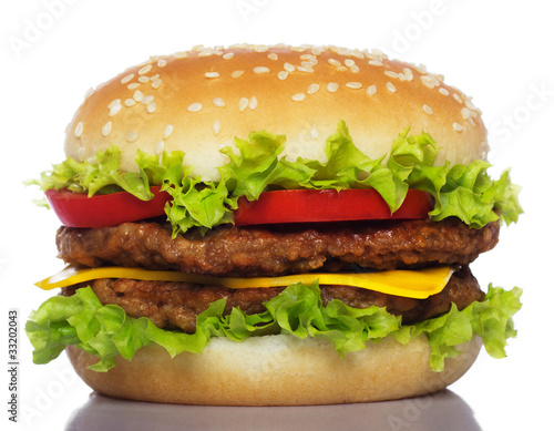 Fotobehang Snack big hamburger isolated on white